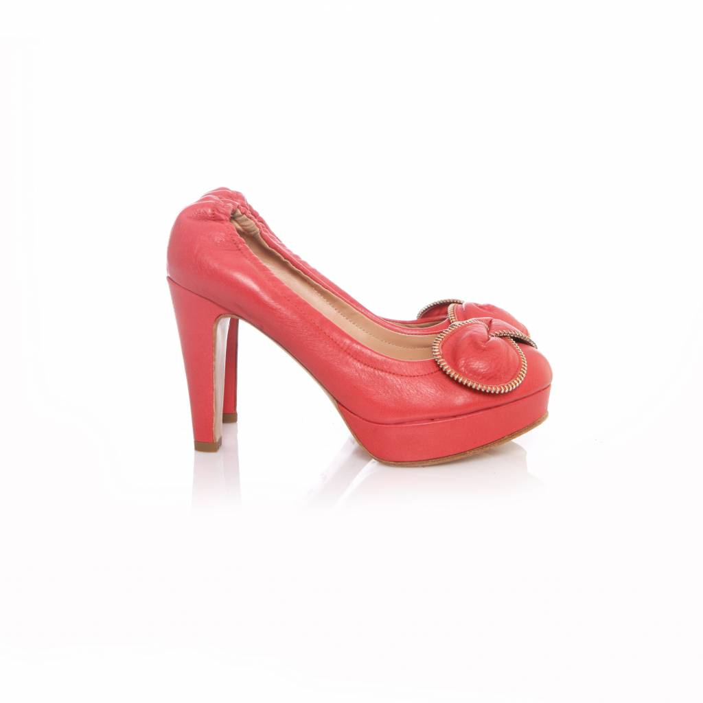 See By Chlo See By Chloe Pink Leather Platform Pumps With Flower