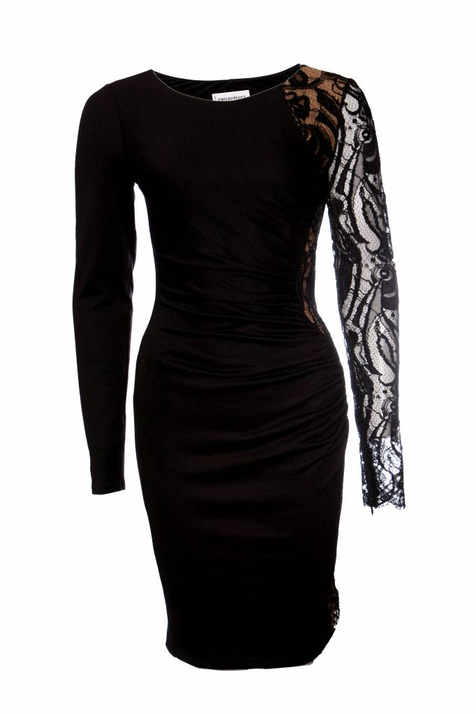 Emilio Pucci Black Dress With Lace Details In Size I42 S