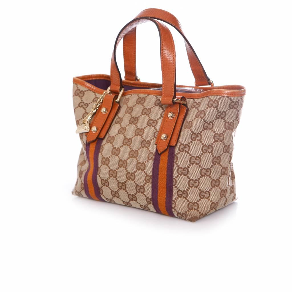 Gucci Mini Canvas Tote Bag Per Handbag With Gold Charms