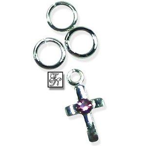 Nagelpiercing Kreuz m. STEIN rosa