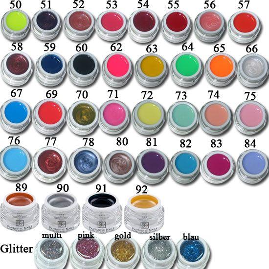 10er uv farbgel set billiges farb gel f r n gel kaufen fantastic nails gmbh. Black Bedroom Furniture Sets. Home Design Ideas