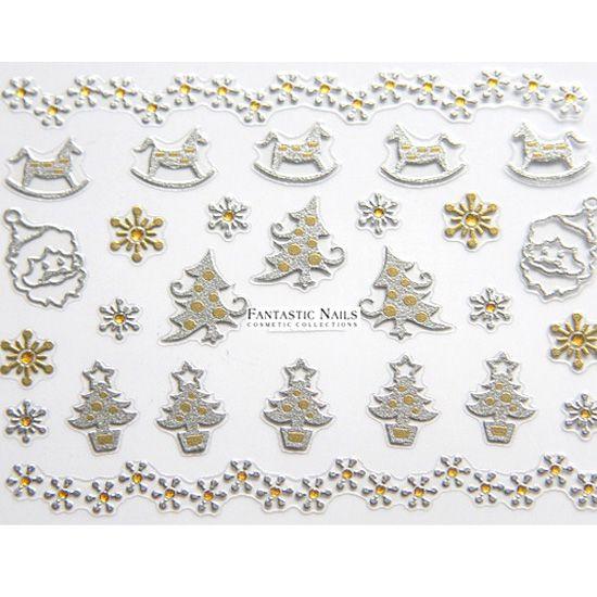fingern gel f r weihnachten gold und silber sticker. Black Bedroom Furniture Sets. Home Design Ideas