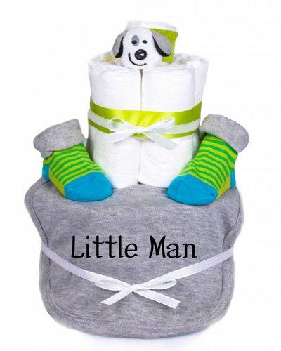 "Babygeschenk WINDELTORTE Junge ""Little Man"" grau meliert Lätzchen + 1 x Babysocken+ 1x Rasselarmband|Grußkarte"