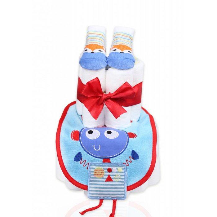 """Babygeschenk WINDELTORTE """" Little Robot"""" Lätzchen + 1 x Babysocken  Grußkarte"""