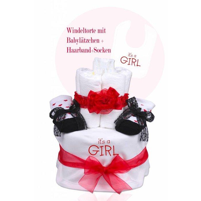 """Babygeschenk WINDELTORTE Mädchen weiß/rot """"It's a Girl """" Lätzchen + 1x Babysocken+ 1x Haarband +Grußkarte"""