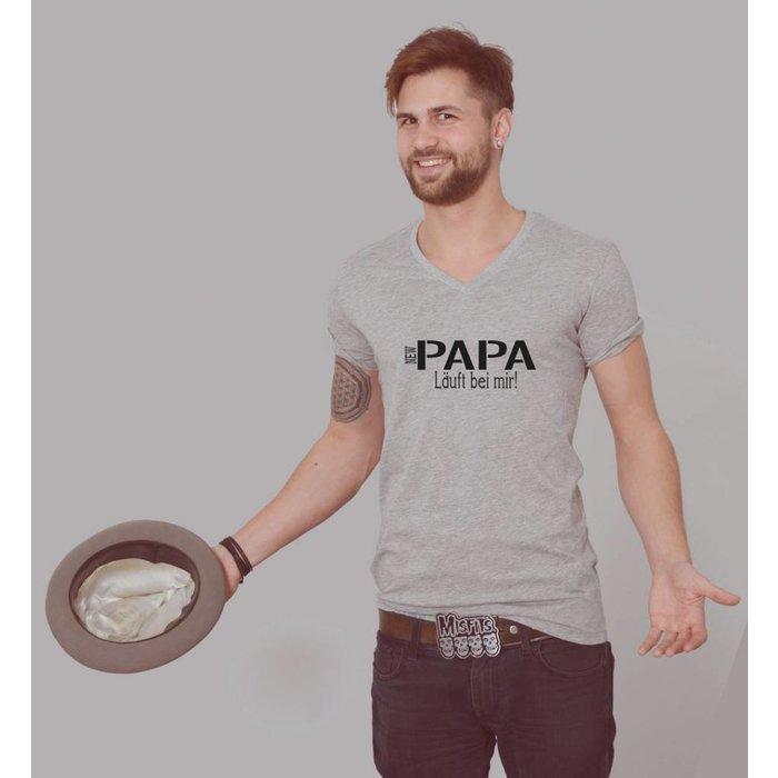NEW Papa Läuft bei mir Männer T-Shirt V-Ausschnitt