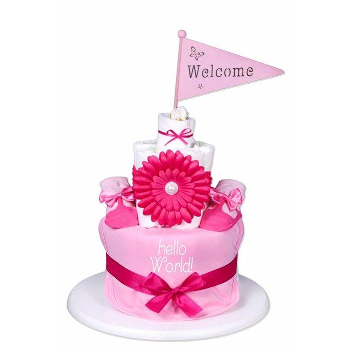 """Babygeschenk WINDELTORTE rosa Mädchen""""hello World""""1xLätzchen & 1x Babysocken & 1x Haarband + kostenlose Grußkarte"""