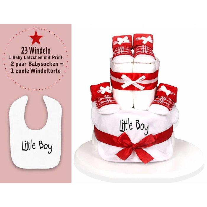 """Babygeschenk WINDELTORTE Junge rot/weiß """"Little Boy"""" weißes Lätzchen mit Druck+ 2 paar Babysocken + kostenlose Grußkarte - by Trend Mama®"""
