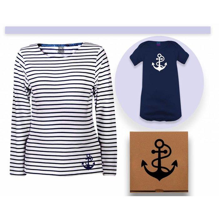 Mama-Baby Geschenkset  im Partnerlook  Mama Ringel Shirt & Baby Body im Geschenkkarton von Trend Mama +kostenlose Grußkarte