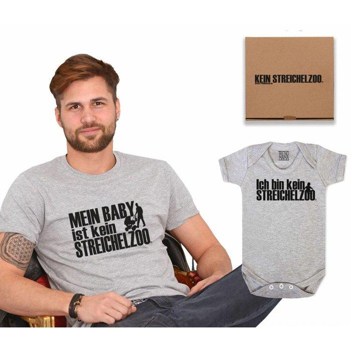 """Papa Shirt-Baby Body Geschenk Set im Partnerlook""""Kein Streichelzoo® """" im Geschenkkarton grau meliert"""