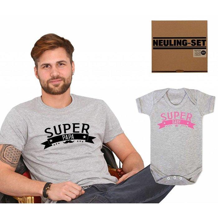 Super Papa Shirt-Baby Body Girl Geschenk Set im Geschenkkarton  Partnerlook grau meliert