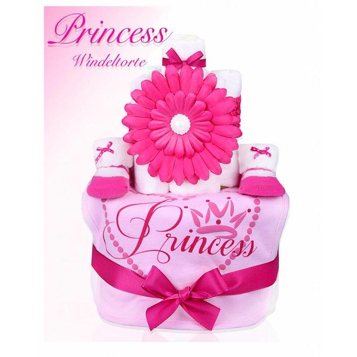 """WINDELTORTE Mädchen """"Princess """"Pink/rosa- 1x Lätzchen,1x Haarband mit Blume1x Babysocken + Grußkarte"""