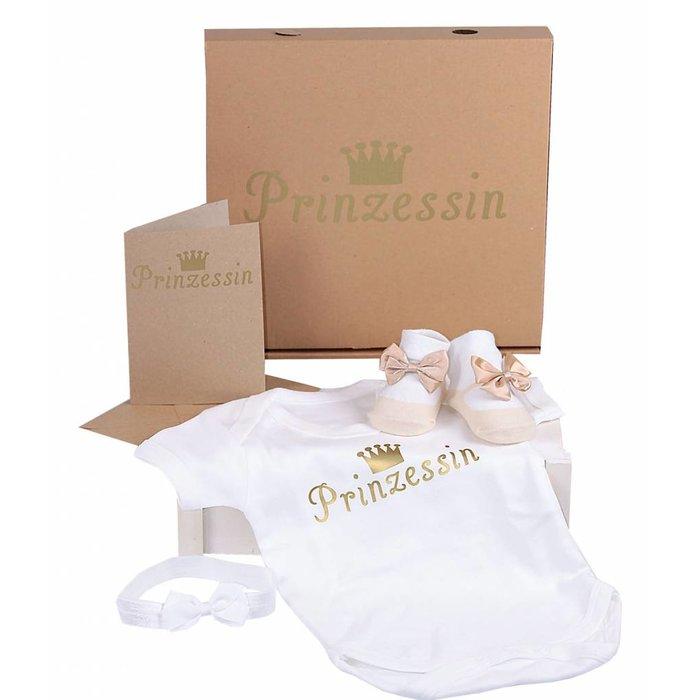 Babygeschenk-Set Prinzessin Mädchen- Baby Body mit Prinzessin Print in Gold + Haarband + Babysocken Satinschleife | Geschenkkarton-