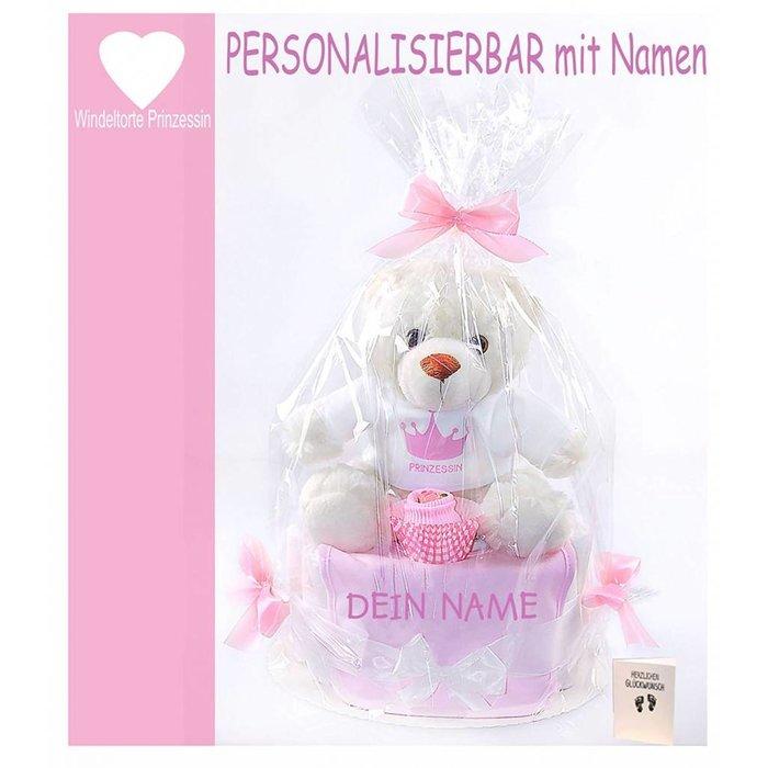 PERSONALISIERBARE Windeltorte rosa Mädchen - Babylätzchen mit gewünschten Namen+rosa Babysocken + großer Teddybär+ Grußkarte| Geschenk Geburt