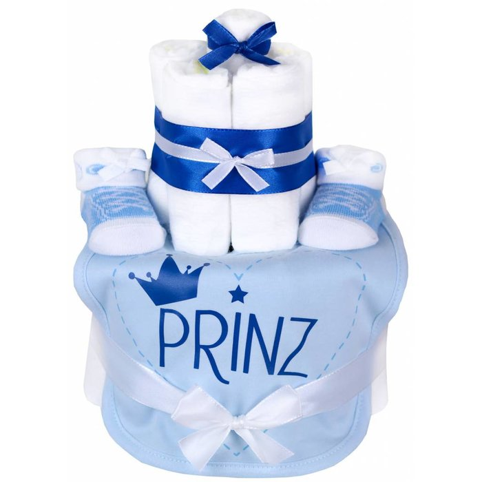 "Windeltorte Junge hellblau ""PRINZ"" 1x hellblaues Lätzchen,1x hellblaue Babysocken + Grußkarte| Geschenk Geburt"
