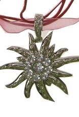 Ketting edelweis aan koord zilver