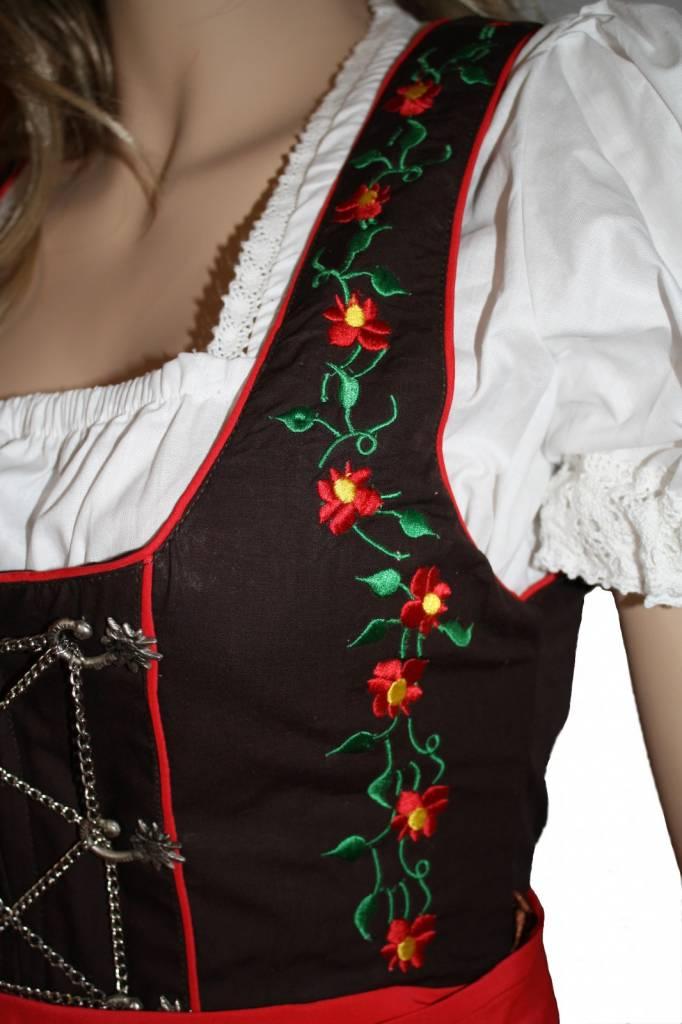 Dirndl Anna jurk 3delig Rood Bruin