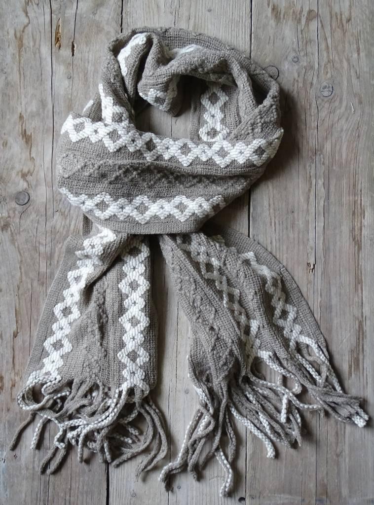 Clayre & Eef Winter Sjaal Beige-Wit