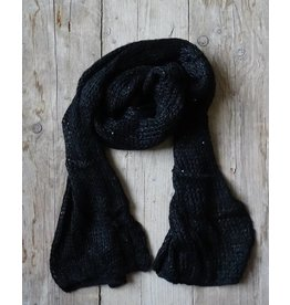 Clayre & Eef Winter Sjaal Zwart met pailletjes
