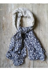 Clayre & Eef Sjaal Blauw - Wit vogeltjes