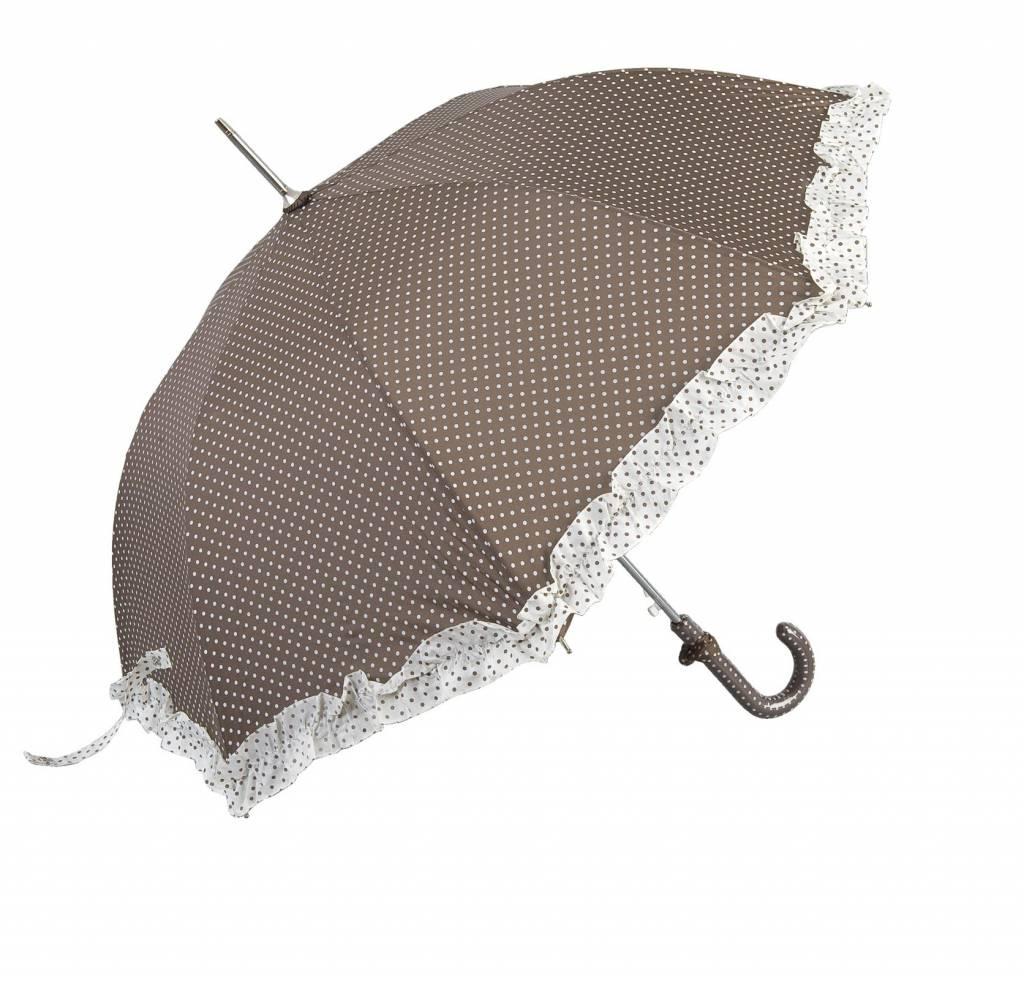 Clayre & Eef Paraplu Bruin-Stip 70x80