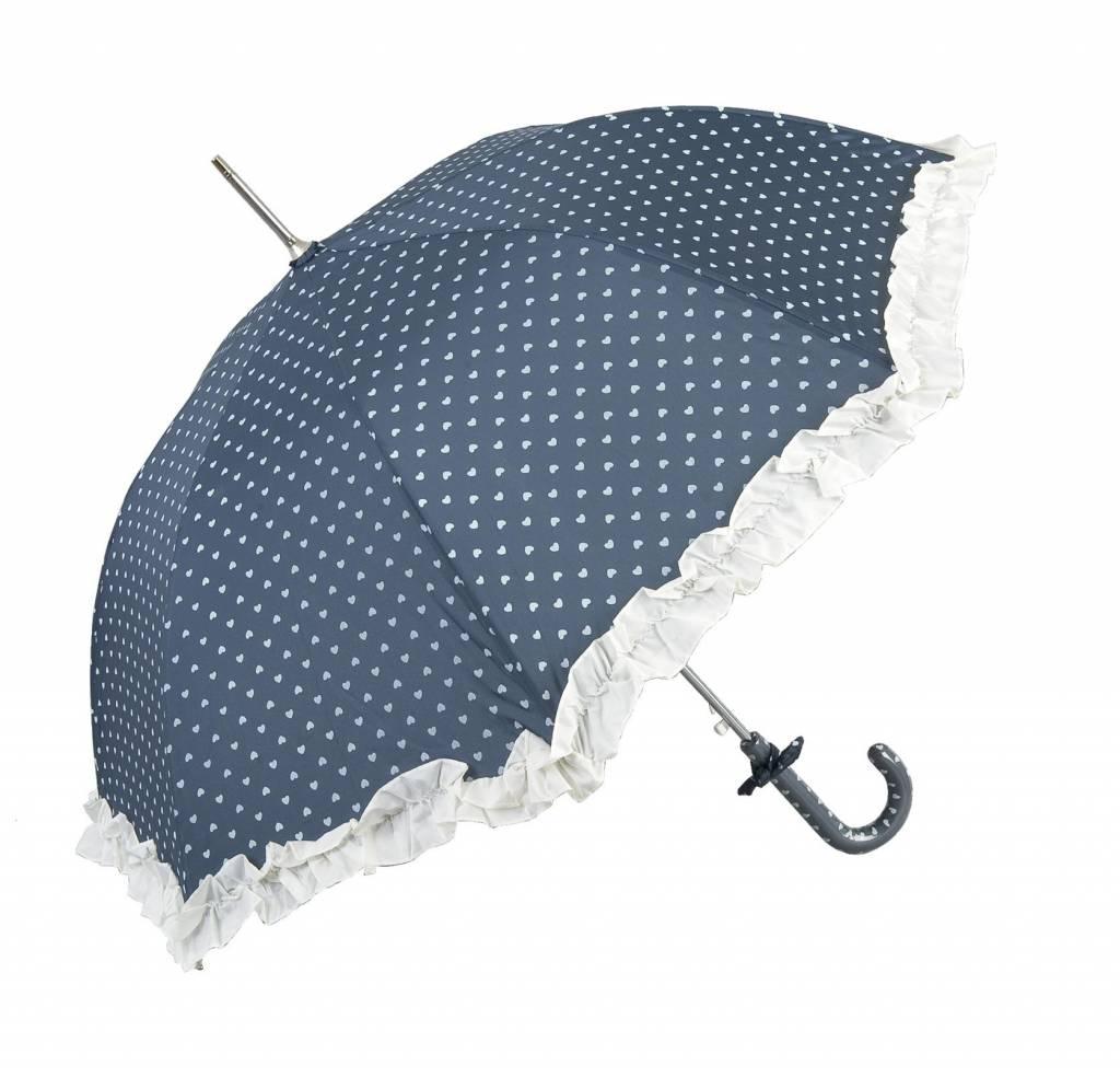 Clayre & Eef Paraplu Blauw-Hartjes 70x80
