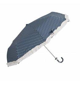 Clayre & Eef opvouwbaar Paraplu Blauw-Hartjes