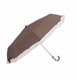 Clayre & Eef opvouwbaar Paraplu Bruin-Hartjes