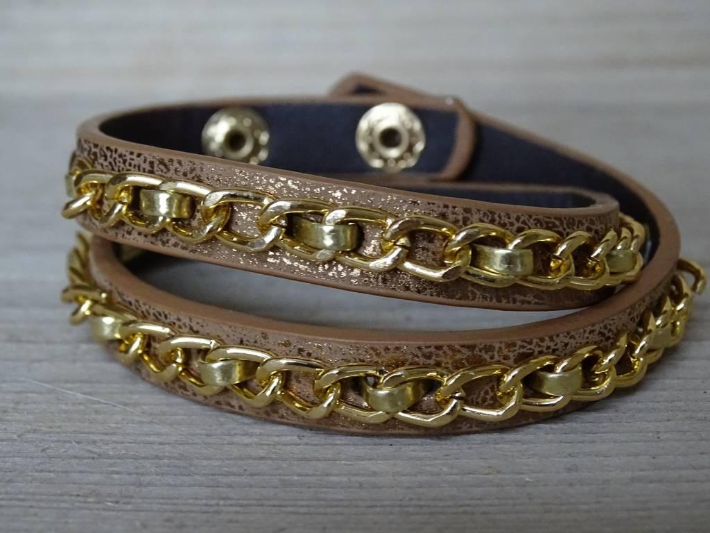 Clayre & Eef Armband leer & ketting Bruin-Goud