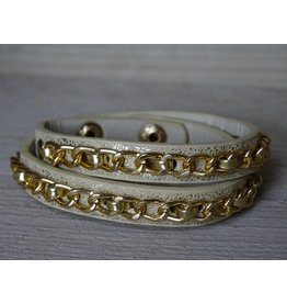 Clayre & Eef Armband leer & ketting Beige-Goud