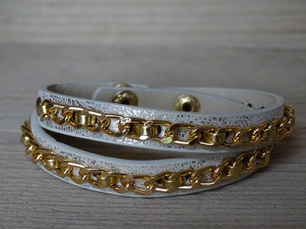 Clayre & Eef Armband leer & ketting Wit-Goud