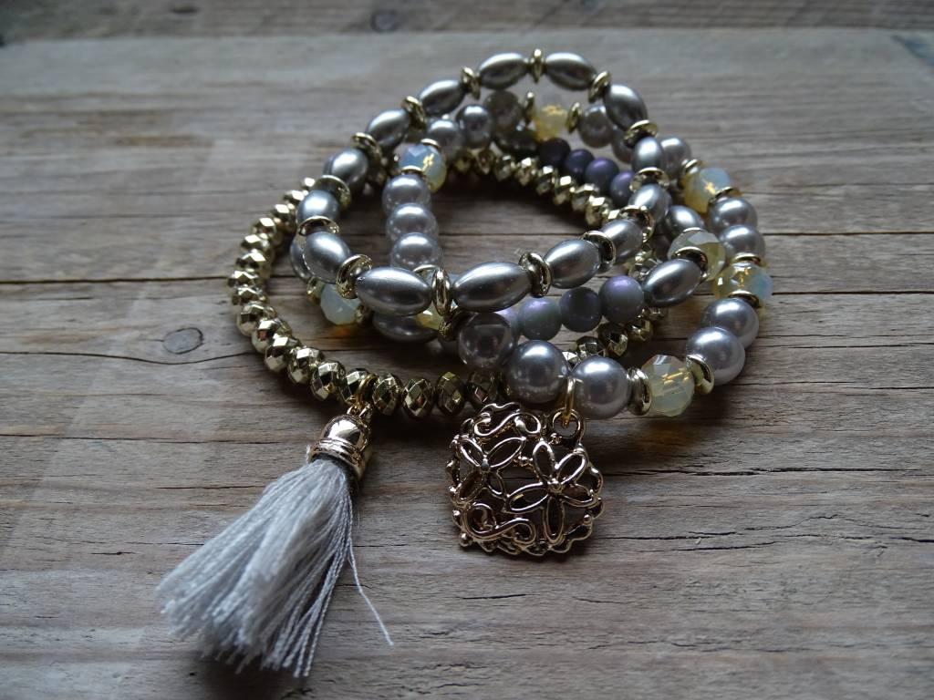 Clayre & Eef Armbandjes Hart-Pluim