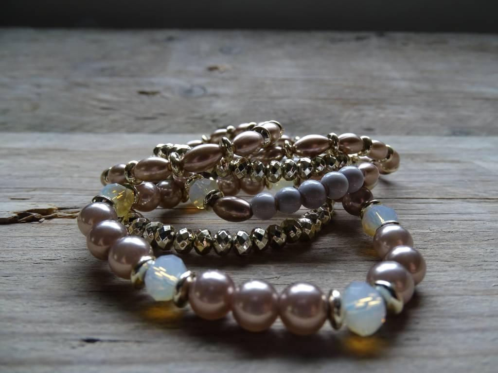 Clayre & Eef Armbandjes Paars-Goud