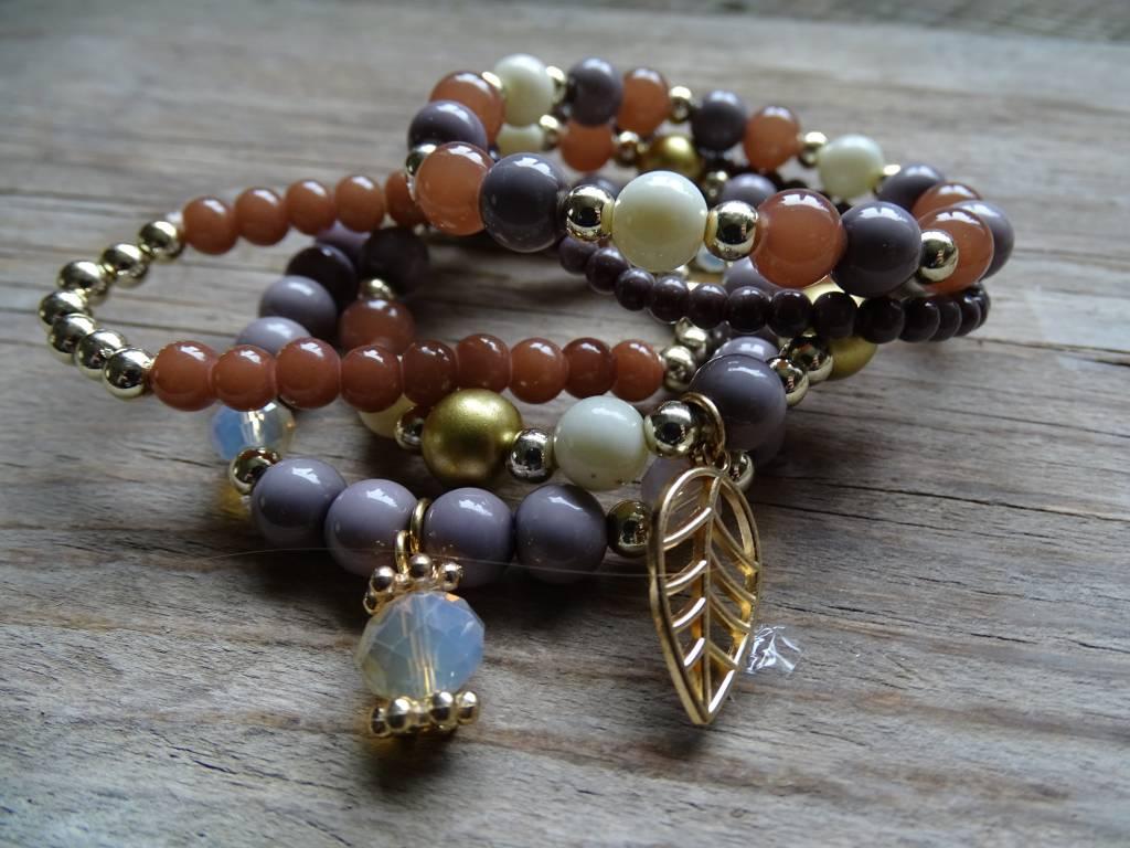 Clayre & Eef Armbandjes Blad-Bloem