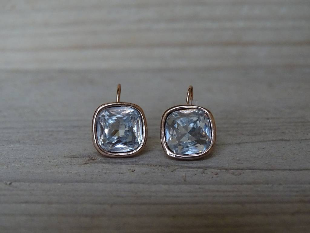 Behave oorbellen vierkant met Swarovski kristalsteen