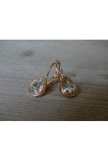 Behave oorbellen druppel met Swarovski kristalsteen