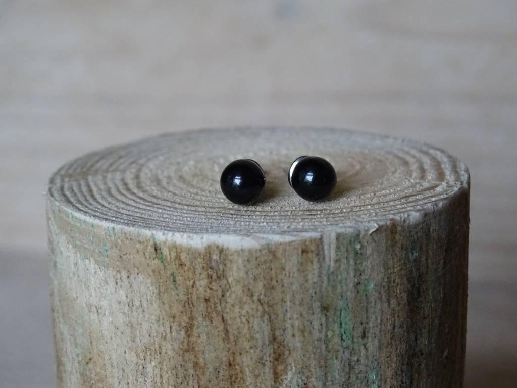 Parel oorbellen Zwart size smal