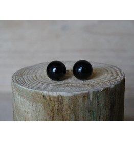 Parel oorbellen Zwart size large