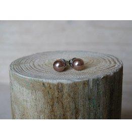 Parel oorbellen Bronze size smal