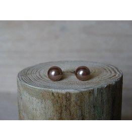 Parel oorbellen Bronze size medium