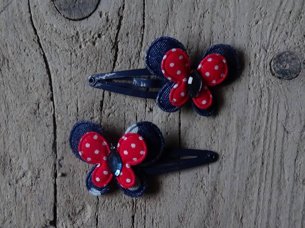 Meisjes Haarspeldjes Blauw-Rood Stip
