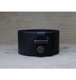 Unleaded Heren armband Breed Zwart leer