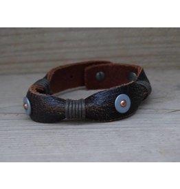 Unleaded Heren armband Stoer Donker Bruin Leer