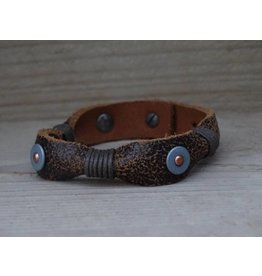 Unleaded Heren armband Stoer Bruin Leer