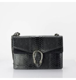 Cross Body Wannahave Zwart Slangen Leer