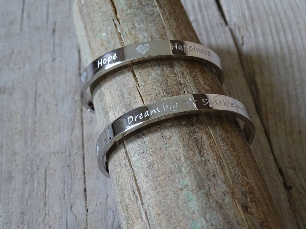 Pinkiezz Quote Armband Love Hope Happiness