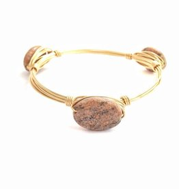 Boho Babes Marble ovaal Gold Wired Bangle