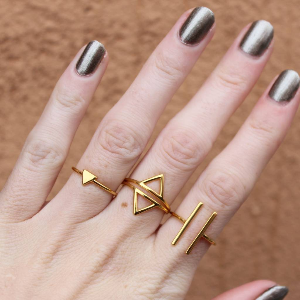 Midsummer Star Dubbele Triangle Ring Goud