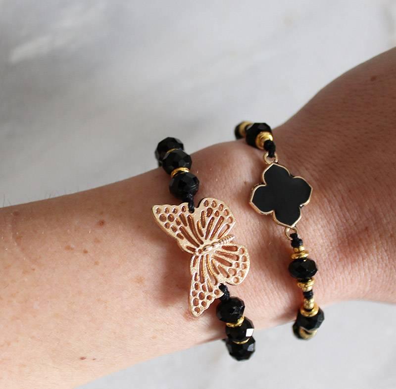 Boho Babes Majou Klaver en kralen armband