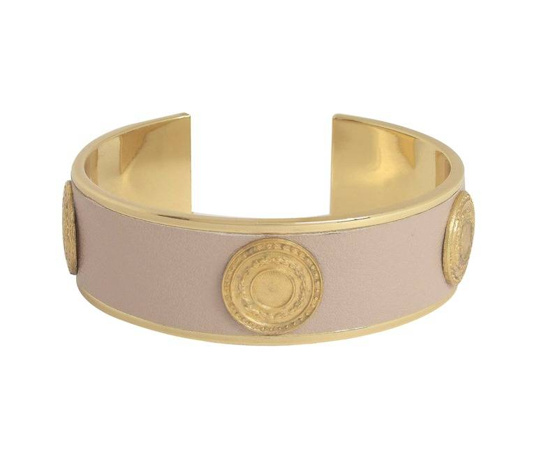 Dear Charlotte Beige Leather Bangle